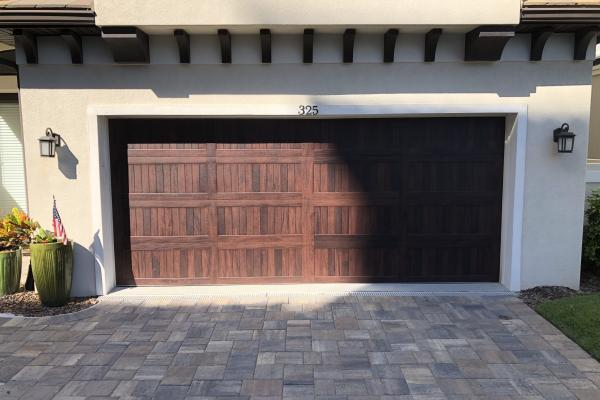Accents Carriage Stamp Long Panel Garage Door in Mahogany