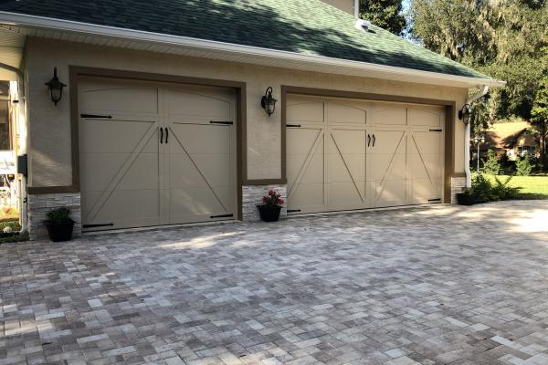 Carriage House Overlay Garage Door with 5333A Design and Barcelona 1 External Hardware Kit