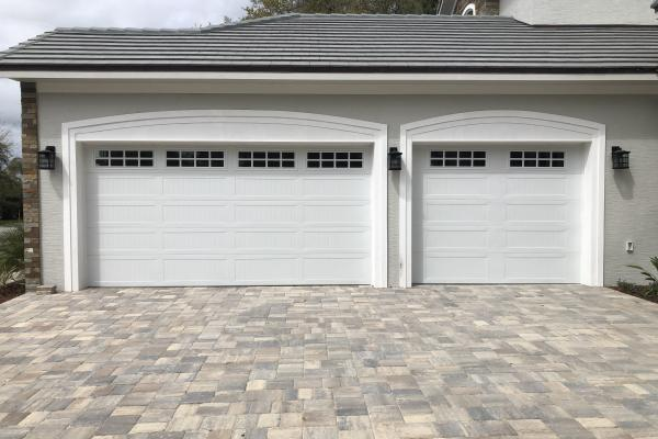 Carriage Stamp Long Panel Garage Doors with Stockton Long Glass Section