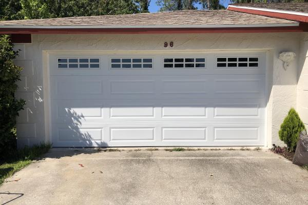 Raised Long Panel Garage Door with Stockton Long Glass Top Section