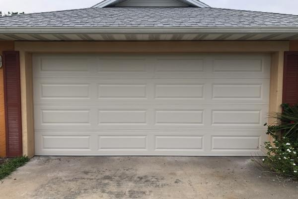 Raised Long Panel Garage Door in Almond Color
