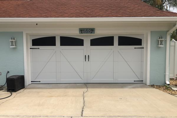 Carriage House Overlay Garage Door with 5333A Design, Faux Arched Windows and Barcelona 1 External Hardware Kit