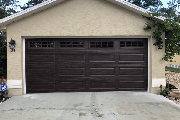 Raised Long Panel Garage Door with Stockton Long Glass and Modern Woodgrain Color