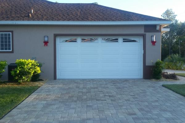 Raised Long Panel Garage Door with 4 Piece Sunburst Glass