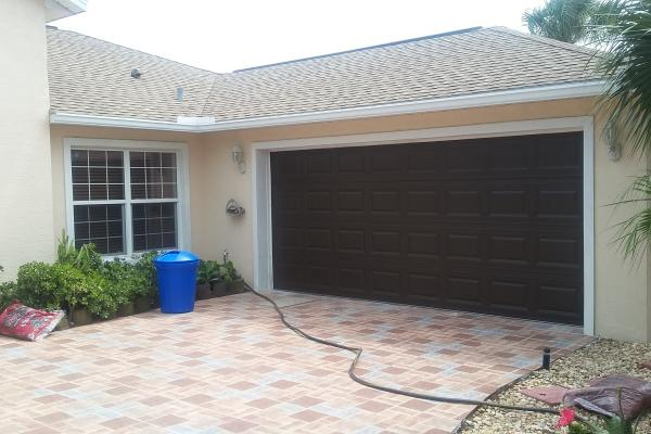 Raised Short Panel Garage Door in Brown