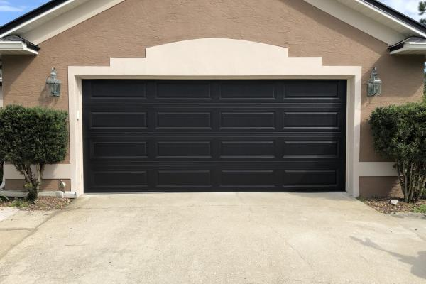 Raised Long Panel Garage Door in Black