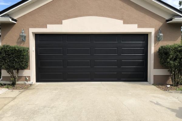 Raised Long Panel Garage Door in Black