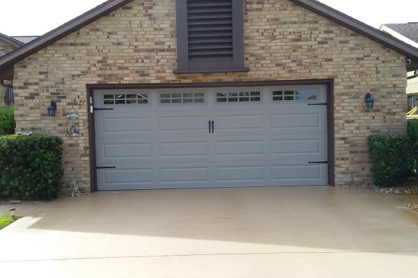 Raised Long Panel Garage Door with Madison Glass Top Section and Spade Hardware Kit