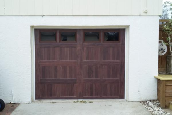 Accents Mahogany Carriage Stamp Short Panel Garage Door with Plain Glass